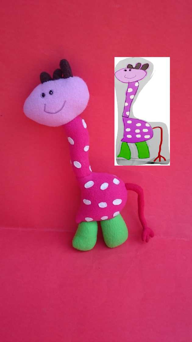 Virginia's plush giraffe toy.